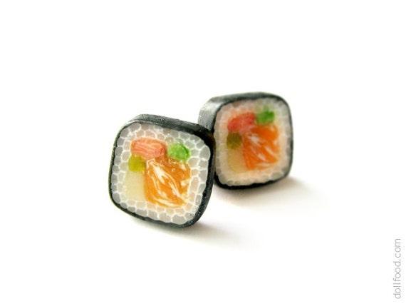 Food Jewelry - Sushi Rolls Earrings Post - Small Ear Studs