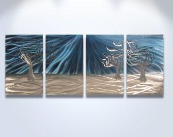 Metal Wall Art Decor Aluminum Abstract Contemporary Modern Sculpture Hanging Zen Textured - 3 Trees Blue