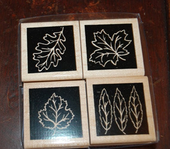 """RESERVED FOR CORBY Close to My Heart Stamp Set  4 Piece Set """"Autumn Block"""" Scrapbooking Card Making Autumn Fall Leaves"""