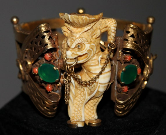 HUGE early Asian Netsuke Pre-Ban Ivory Dragon Serpent Cuff w/ Jade and Coral ---SUPER RARE