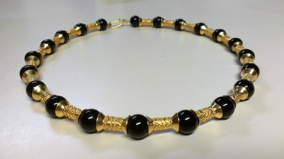 Modernist Bright Gold Metal Edgy Beads and Black Round Beaded Necklace