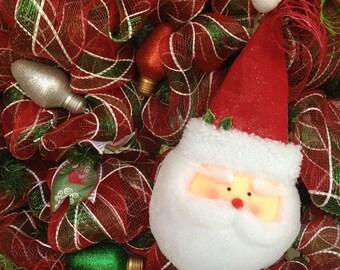 Christmas Deco Mesh Wreath Design With Raz Imports Santa