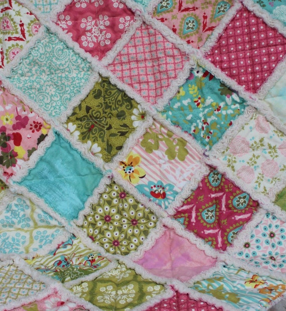 Hello Luscious baby rag quilt in pink, red, green & teal prints