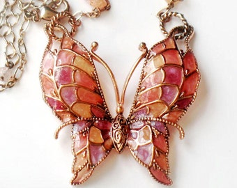 Butterfly Necklace Stain Glass Plique A Jour Vintage Copper Pink  Purple Orange Brown Vintage Collectible Butterfly Jewelry For Women