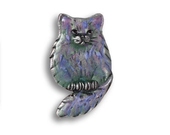 Enamel Multicolored Fat Cat Pin
