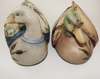 Two Hand Painted Resin Duck Figurines, Home Decor, Part of Sales Proceeds Supports Animal Rescue Charity