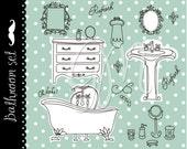 Vintage digital Bath Clip art, spa, beauty, bathroom, party, perfume, cosmetics, sink, bath tub, Personal and Small Commercial Use