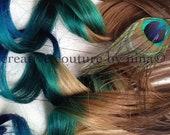 "Peacock Feather Hair Extensions//Peacock Ombre//Peacock DipDye//BurningMan//Teal, Emerald Green and Blue Hair //(7) Pieces//20"""