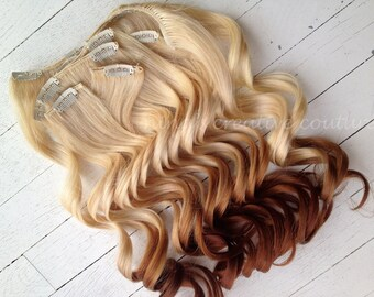 Ombre Hair Extensions//DipDye//Reverse Ombre, Blonde and Red Brown Dip Dye//(7) Pieces//Create Your Own