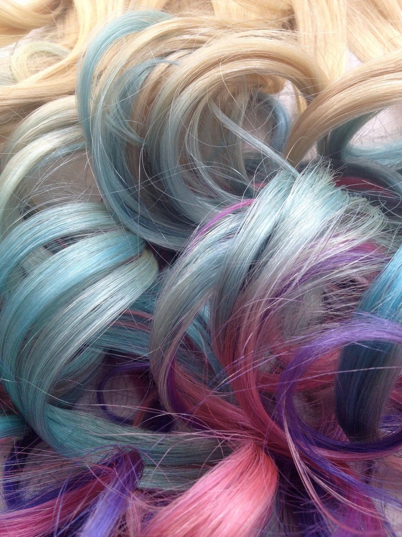 pastel tie dye hair extensions blonde hair dipped in by studioshe. Black Bedroom Furniture Sets. Home Design Ideas