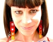 Ecofriendly earrings. Felt jewelry. Rainbow earrings with recycled cds pieces. Color wine, red, orange and yellow degraded