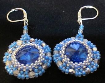 Stunning crystal  Earrings with Swarovski rivoli - Drop Dangle earrings