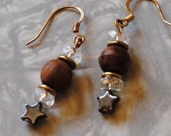 Wood and hematite star earrings