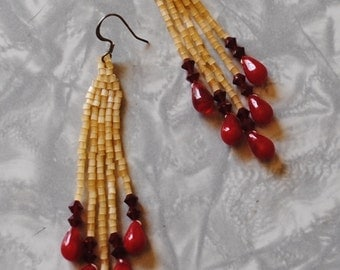 yellow and red brick stitch earrings