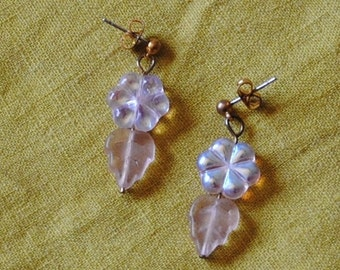 Pink flower and leaf earrings*
