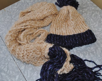 Beige and navy hat and scarf