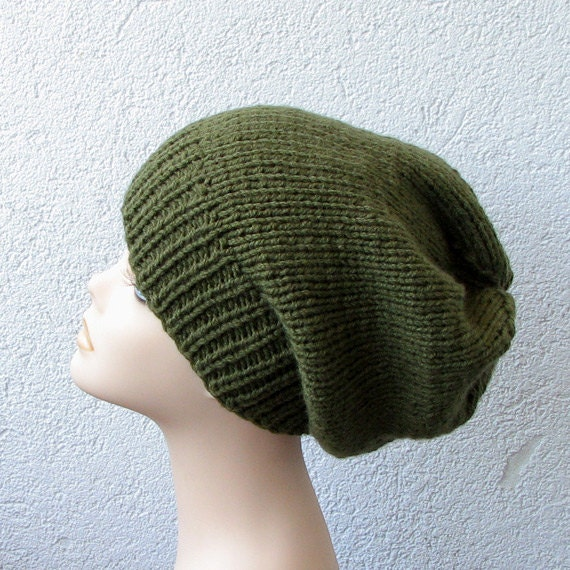 Khaki Knitted Oversized Slouchy Beanie Hat Simple  for men or women unisex