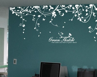 A peaceful Green Sketch with Butterflies-Nursery wall decal baby decor nursery wall sticker children wall decals