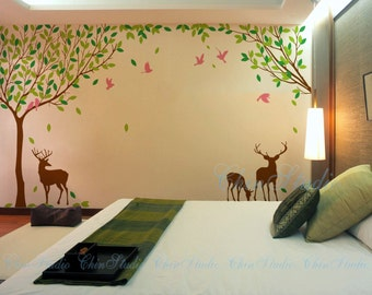 Nature Tree forest Vinyl Wall Decals Kid Room decal-Love forest with deer Decals