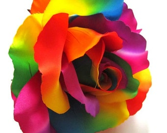 2X HUGE Rainbow Roses Artificial Silk Flower Heads - 6 inches - Wholesale Lot - for Wedding Work, Make Hair clips, headbands, hats