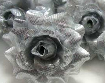 12 Silver mini Roses Heads - Artificial Silk Flower - 1.75 inches - Wholesale Lot - for Wedding Work, Make Hair clips, headbands