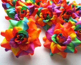 24 Rainbow mini Roses Heads - Artificial Silk Flower - 1.75 inches - Wholesale Lot - for Wedding Work, Make Hair clips, headbands