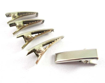40pcs - 3/4 Inch 20 mm - Alligator Hair Clip with teeth , Silver Metal Curl Prong Clips Spring in Hair