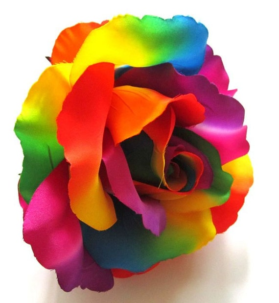 2x huge rainbow roses artificial silk flower heads 6 inches