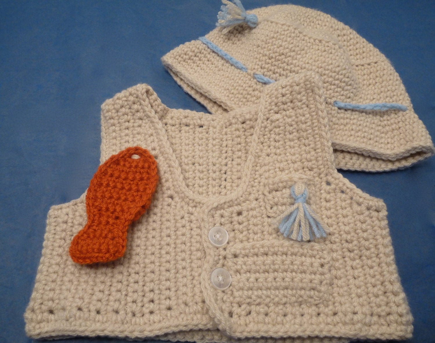 Baby Crochet Fishing Vest And Hat Outfit In Beige With Blue