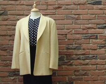 FREE SHIPPING, Butter Cream, Pale Yellow Wool Melton Jacket