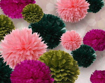 Tissue Paper Pom Poms - Set of 20 - Receptions//Weddings//Wall Decor//Anniversary//Parties Decor//Events Decor
