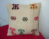 """ORGANIC Bohemian Home Decor,Turkish Kilim Pillow Cover 16""""x16"""",Decorative Pillow,Vintage Kilim Pillow,Kilim Embroidery Pillow,Throw Pillow."""