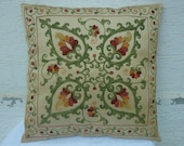 """HANDWOVEN Embroidered Silk Suzani Pillow Cover 18""""x18"""",Decorative Pillow,Vintage Pillow,Throw Pillow.Free Shipping."""