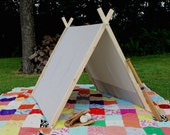 Play Tent • Collapsable Tent • A-Frame tent Blue and white ticking • outdoor tent