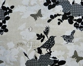 Patterned Bird Song Birds and Butterflies  -  30 inches x 44 inches