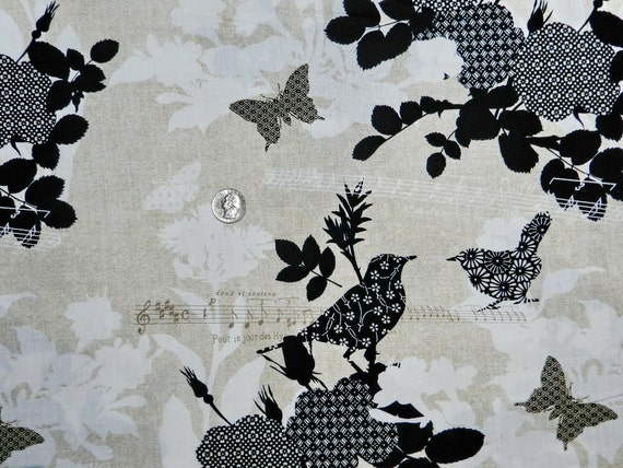 Patterned Bird Song Birds and Butterflies  - Fabric By The Yard