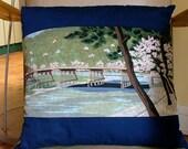 "Hand sewn cushion pillow Japanese pure cotton ""Arashiyama"" motif furoshiki & vintage yukata kimono calligraphy fabric 50cm 20"""