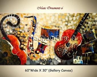Original Music, Abstract Guitar Painting, Music instruments art on canvas by Madhav