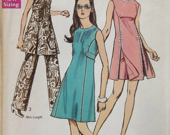 Vintage 1970 Simplicity Sewing Pattern for Dress And Pants Size 14