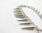 Silver Spike Bracelet/Anklet - Ready to Ship Punk Jewelry