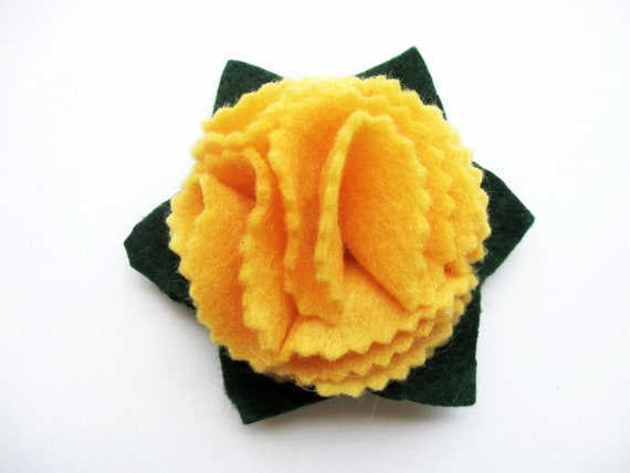 Bright Yellow Flower Hair Clip, Girls Hair Clip, Girls Hair Accessory, Felt Flower Clip, Adult Yellow Gold Flower Clip