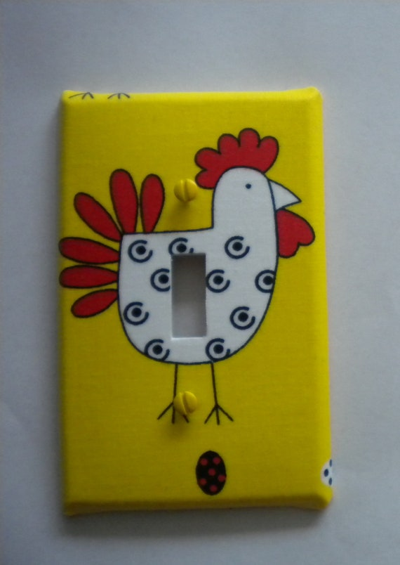 Country Hen Chicken Rooster Light Switch Plate Single Handmade Cover