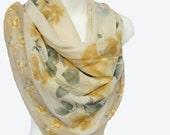 Valentina Fiore Tea Roses Scarf..Silk  Scarf.. Vintage Silk Scarf 45 x 45 Square Scarf