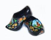 Vintage Black Dutch Holland Wood Shoes Clogs...Souvenir