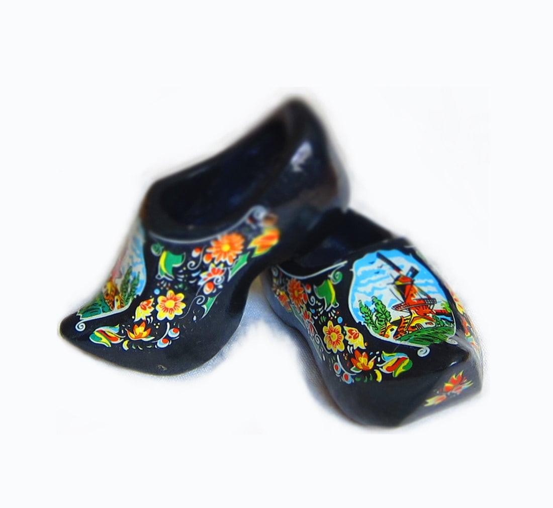 Vintage Black Dutch Holland Wood Shoes Clogs Souvenir