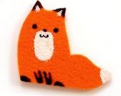 Felt Fox Brooch or Magnet. One of a kind handmade item.