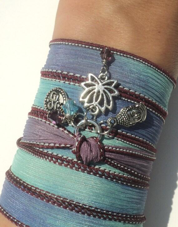 Lotus Buddha Silk Wrap Bracelet Zen Om Jewelry Yoga Namaste Mother Nature Blue Anklet Necklace Earthy Unique Gift Under 50 Item S74