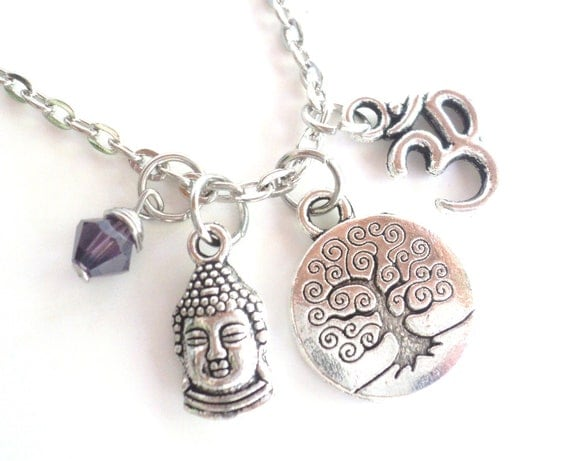 Buddha Tree of Life Necklace Om Namaste Yoga Jewelry Zen Purple Earthy Unique Gift For Her Christmas Stocking Stuffer Under 50 Item T24