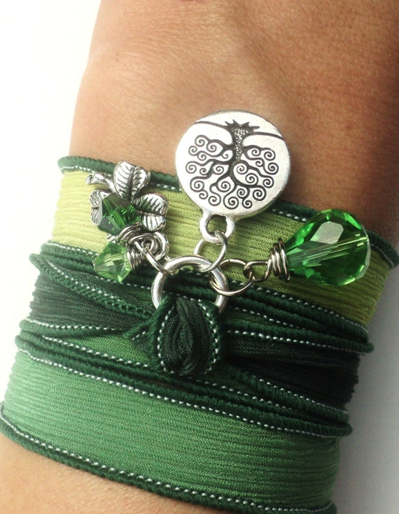 Tree of Life Silk Wrap Bracelet Yoga Jewelry Green Good Luck Necklace Unique Gift For Her Fall Under 50 Item Z32