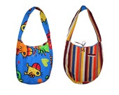 SALE - 30%!!! Reversible shoulder bag with pockets. Large hobo bag with birds and stripes, blue, orange, yellow. Upcyled recycled repurposed